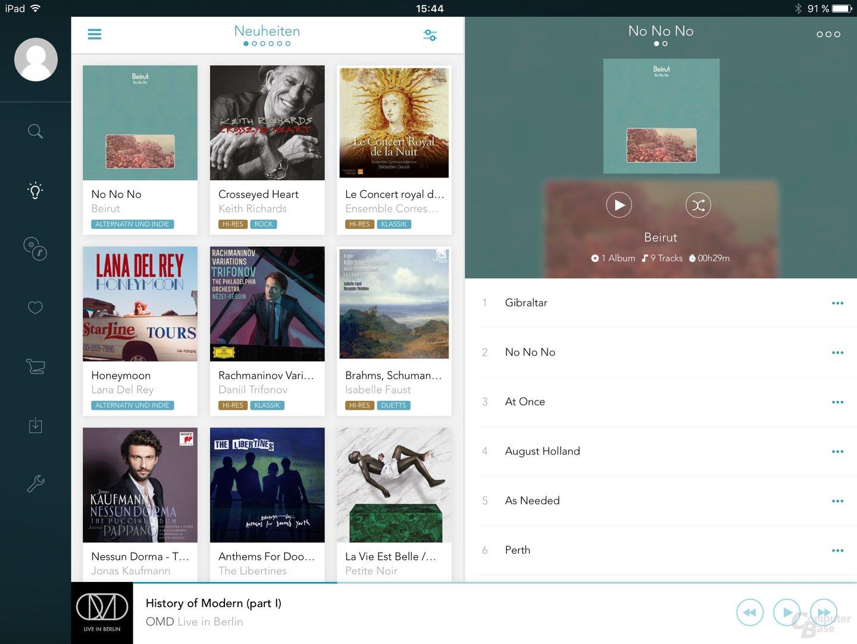 Qobuz auf dem iPad