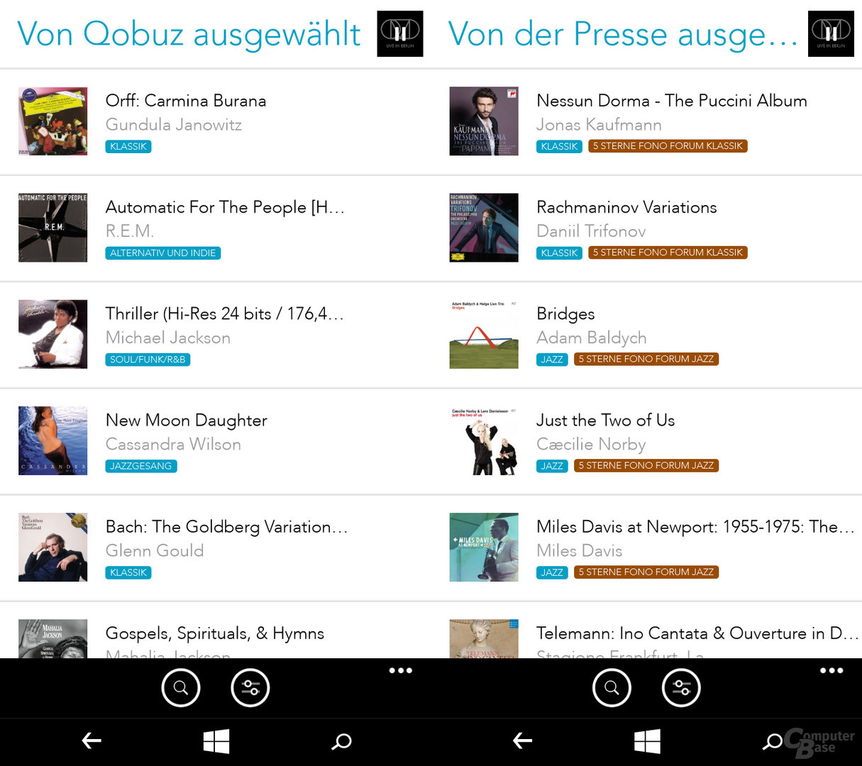 Qobuz auf dem Windows-Phone