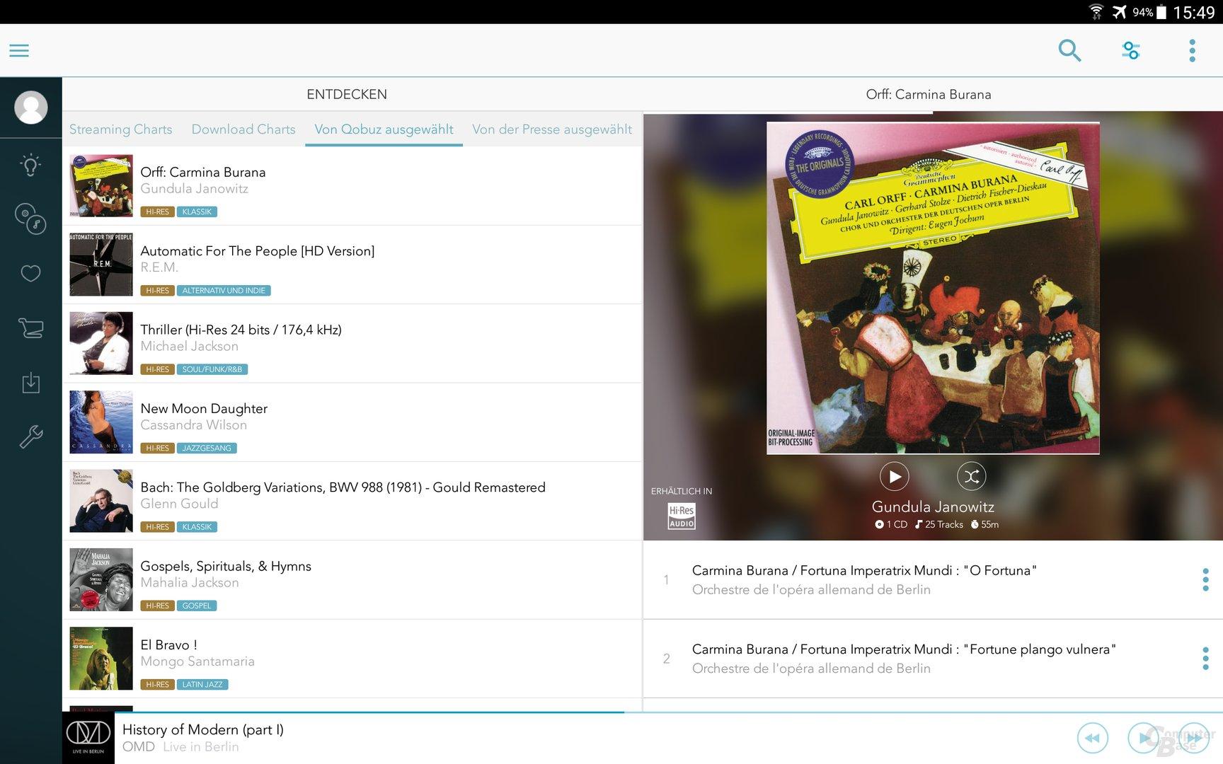 Qobuz auf dem Android-Tablet