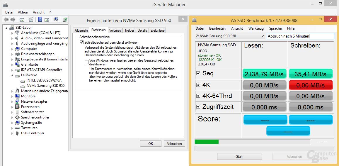 Standardeinstellung der Schreibcacherichtlinien von Windows
