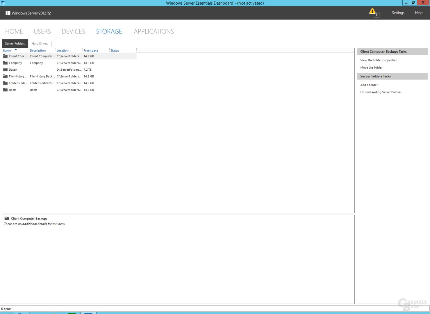 Windows Storage Server 2012 R2 Essentials: Dashboard zur Konfiguration