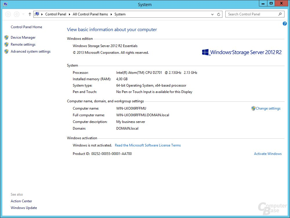 Windows Storage Server 2012 R2 Essentials auf dem Thecus W4000+