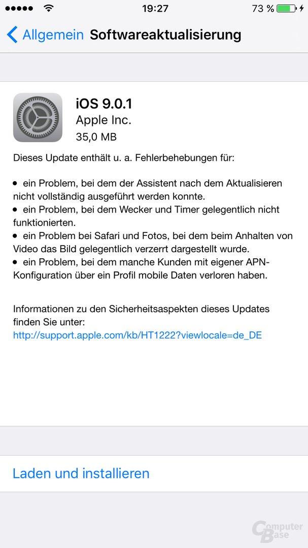 iOS 9.0.1 steht zum Download bereit