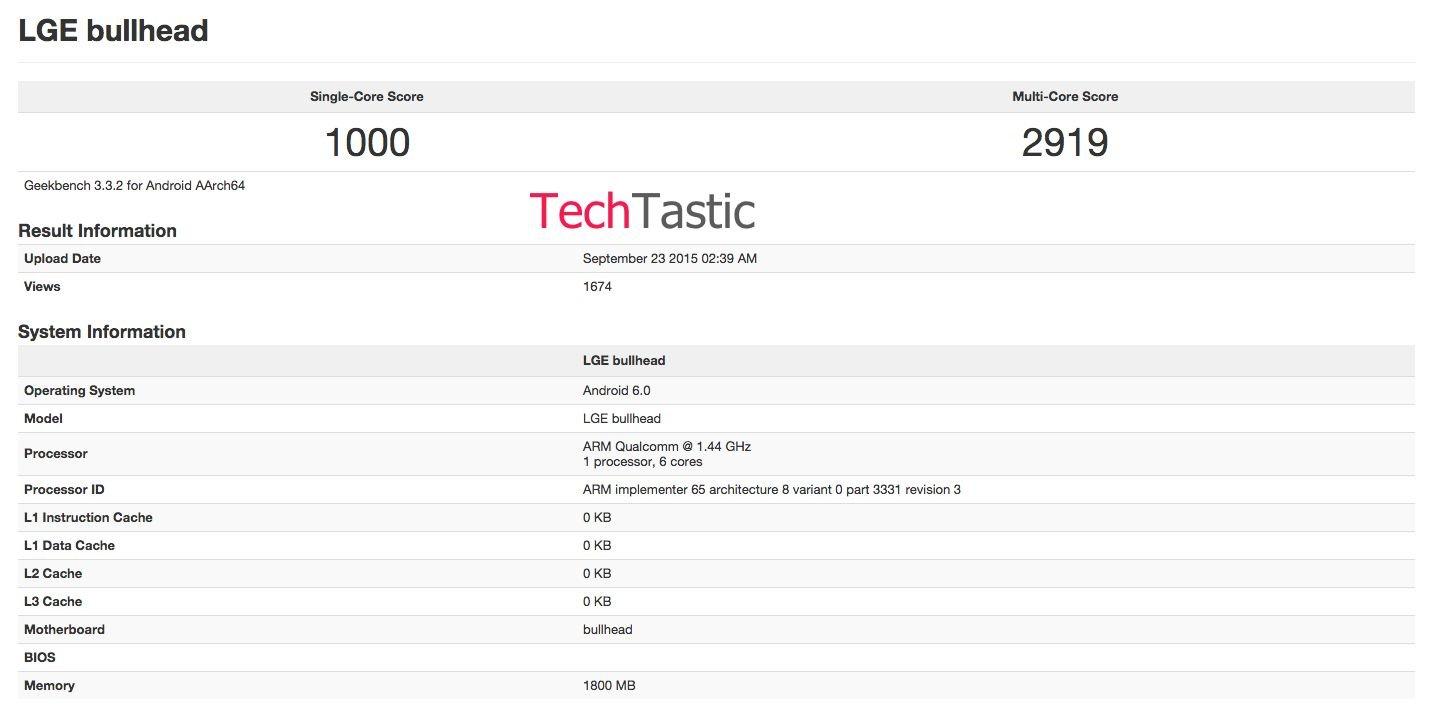 GeekBench-Ergebnis des Google Nexus 5X