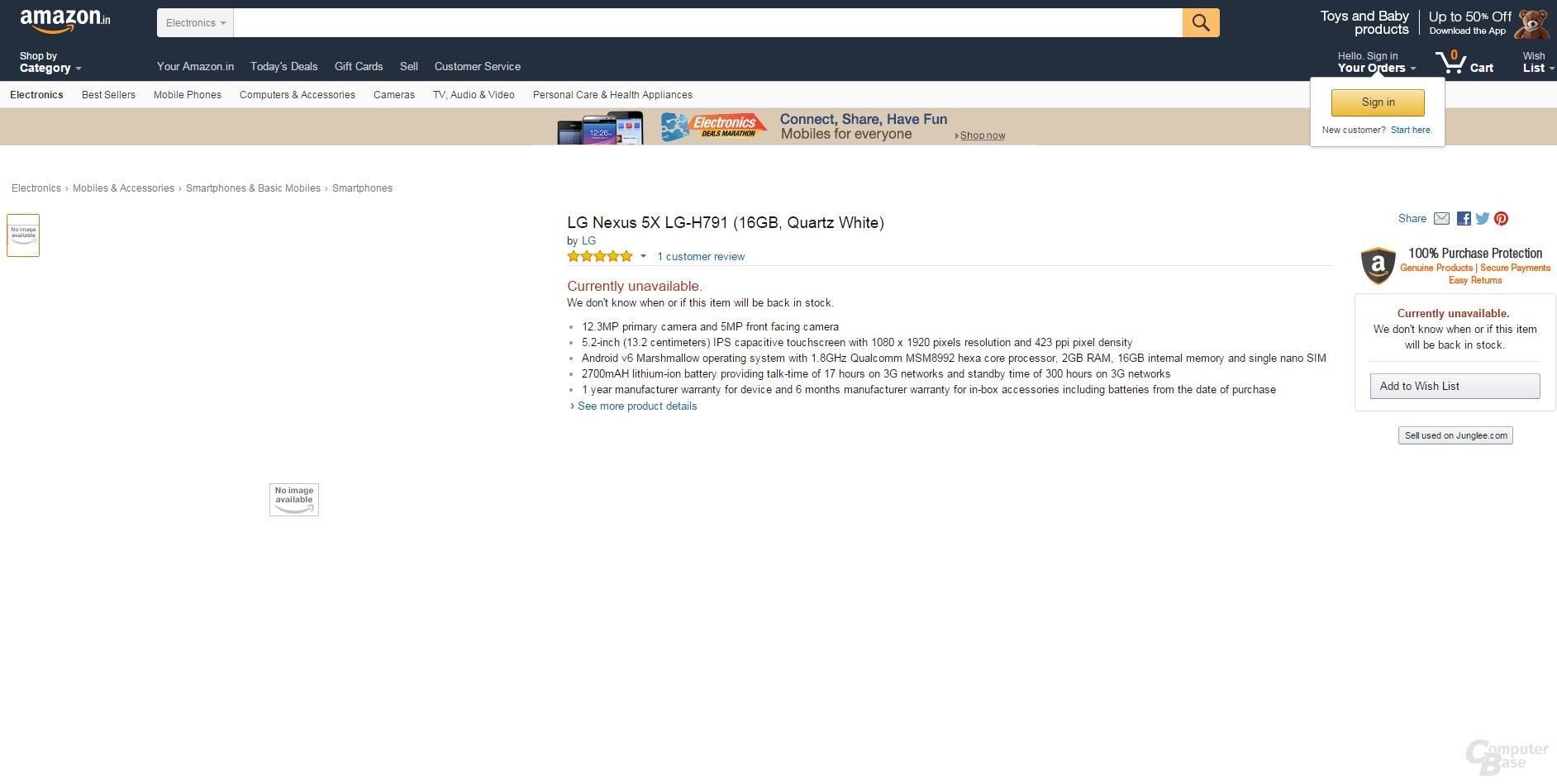 Listung des Nexus 5X auf Amazon.in