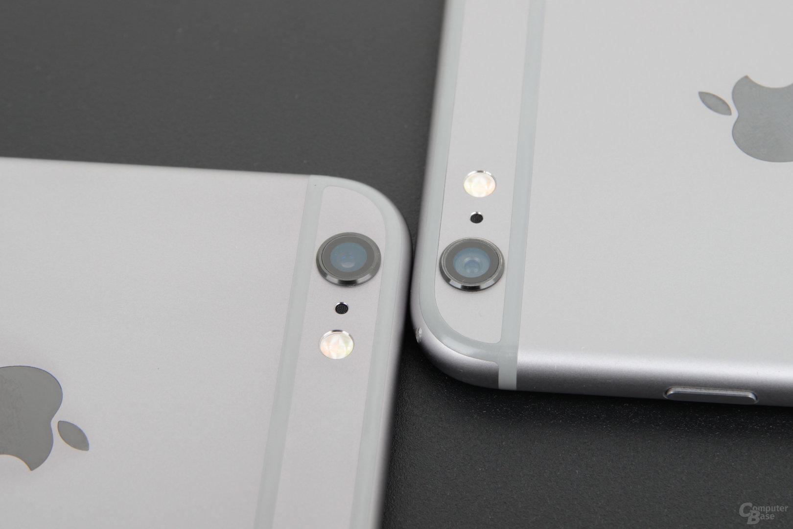 Kamera des Apple iPhone 6s Plus (links) und iPhone 6 Plus (rechts)