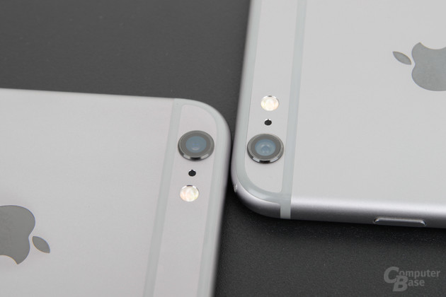 Kamera des Apple iPhone 6s Plus (links) und iPhone 6 Plus (rechts)