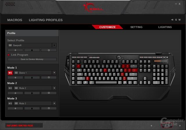 Hauptmenü: Belegte Tasten werden rot markiert