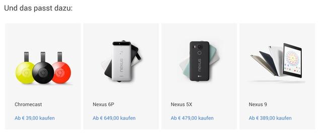 Preisliste aus dem Google Store