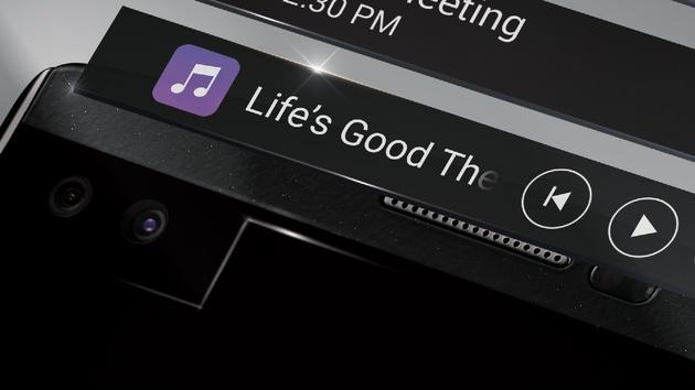 LG V10: Smartphone mit zweitem Bildschirm als Statusleiste