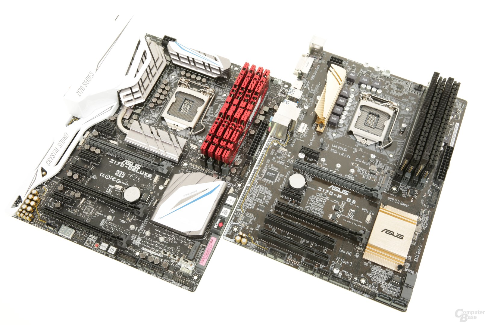 Zwei Mal Z170 von Asus, einmal für DDR4, einmal für DDR3