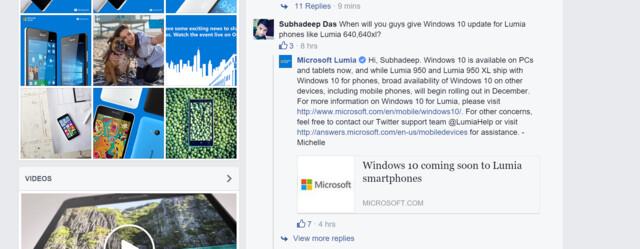 Microsoft Lumia Facebook-Eintrag