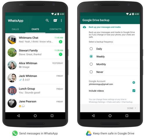 WhatsApp für Android sichert in Google Drive