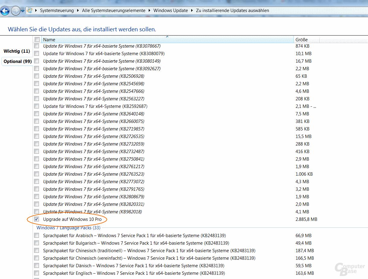 """Nur das Windows-10-Upgrade ist unter """"Optional"""" ausgewählt"""