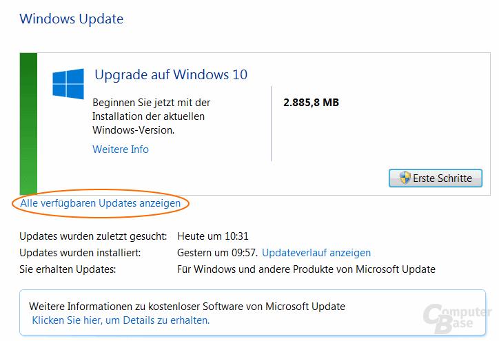 Windows Update meldet nur Upgrade auf Windows 10