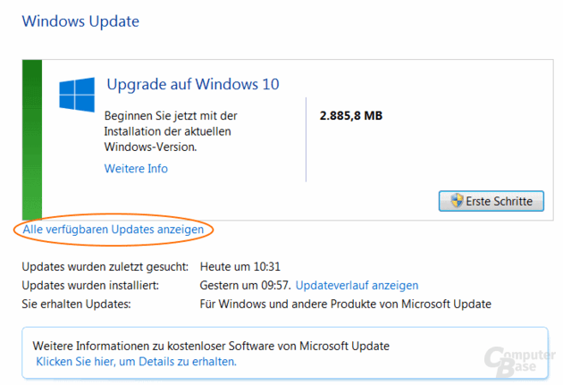 Windows Update meldet nur Upgrade auf Windows 10