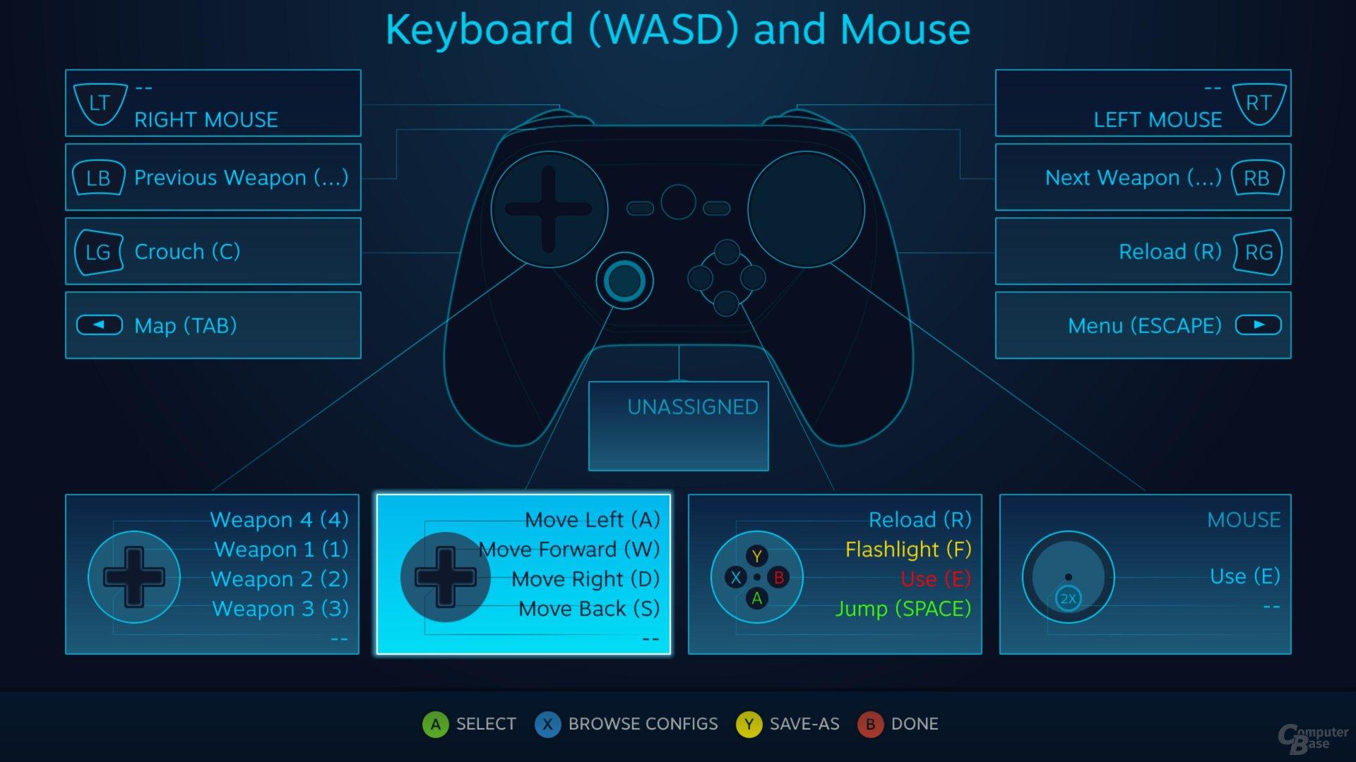 Einzelne Elemente des Controllers können im Detail angepasst werden