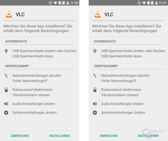 VLC for Android 1.5 (l) und 1.6 (r) – Berechtigungen