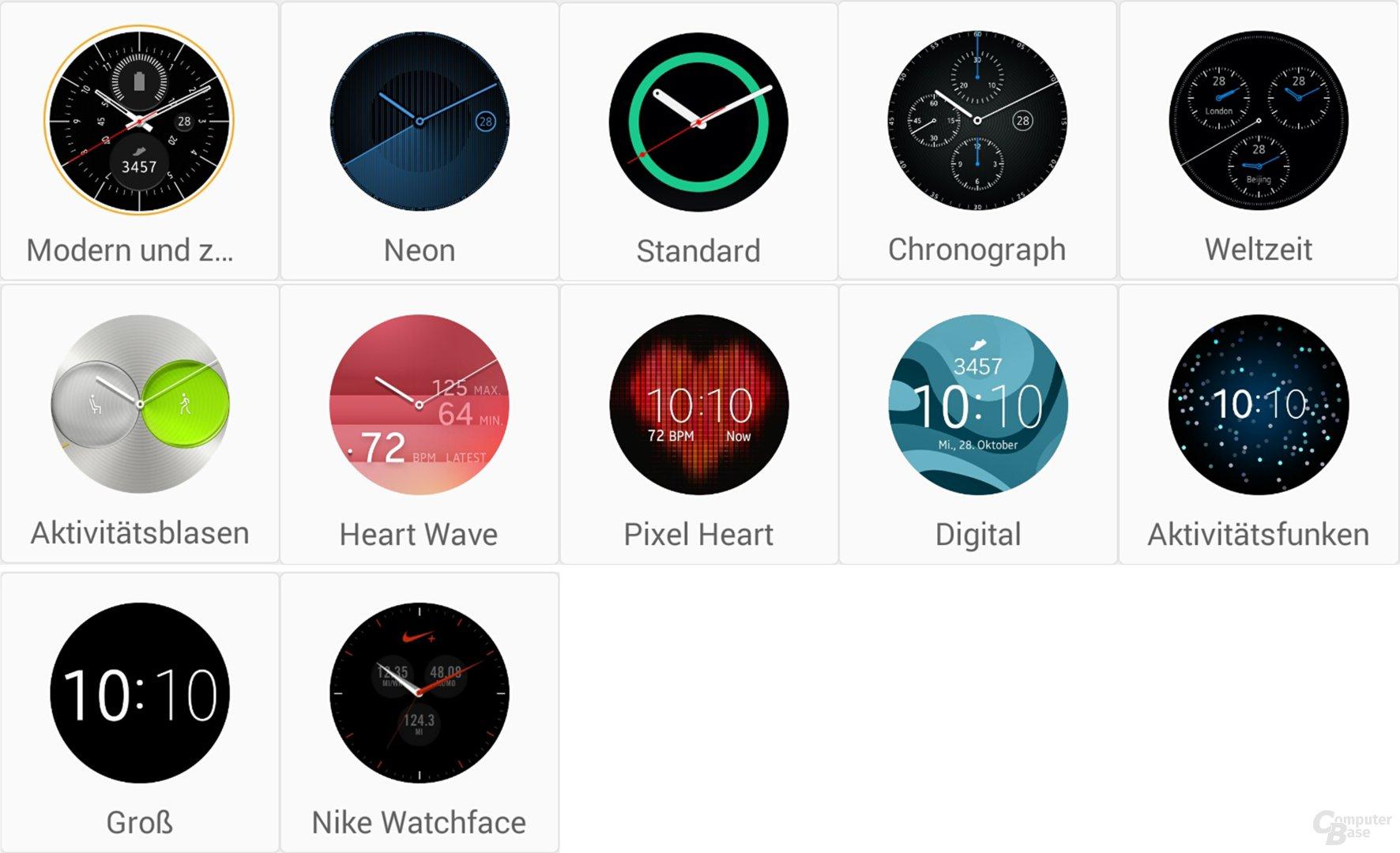 Watchfaces der Samsung Gear S2