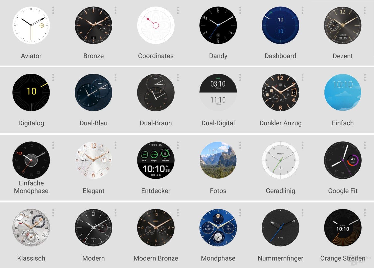 Watchfaces der Huawei Watch Nr. 1