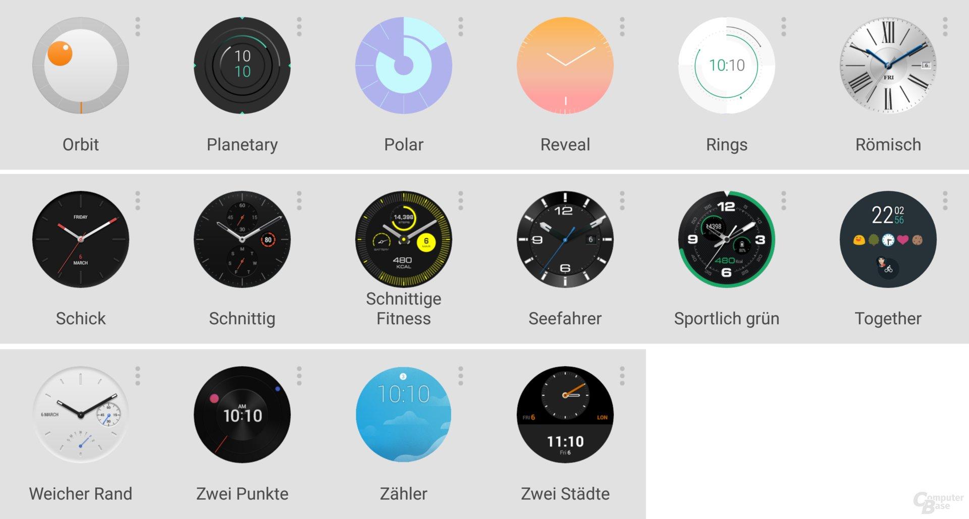 Watchfaces der Huawei Watch Nr. 2