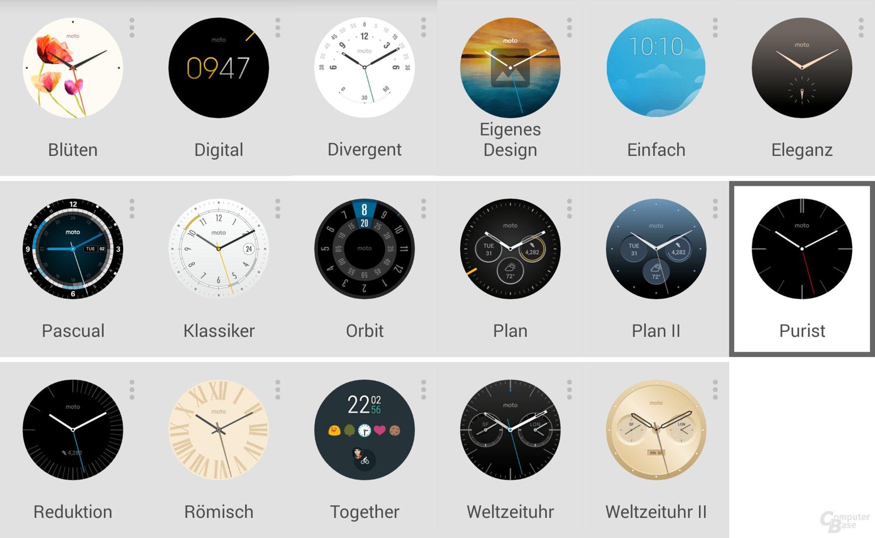 Watchfaces der Motorola Moto 360 2nd Gen