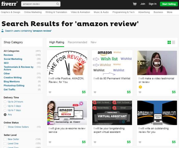 Amazon-Bewertungen gegen Geld auf Fiverr