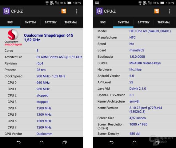 Der Snapdragon 617 ist noch zu neu für CPU-Z