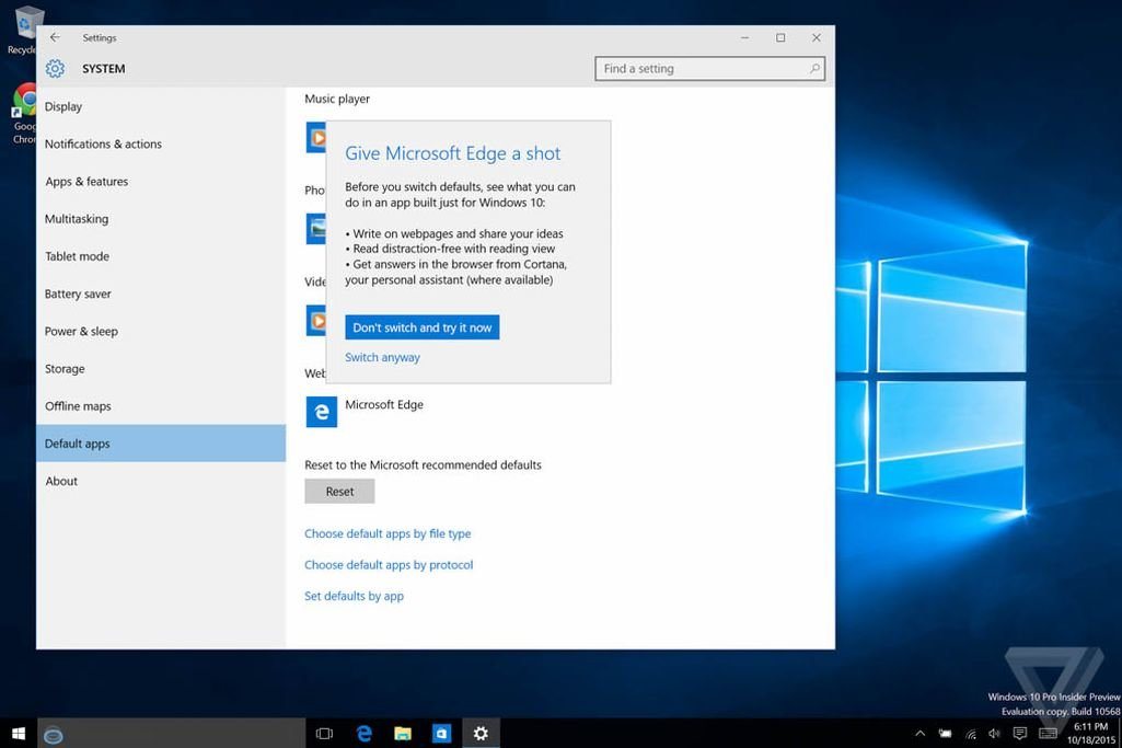Build 10568: Dialogfeld vorm Wechsel des Standardbrowsers
