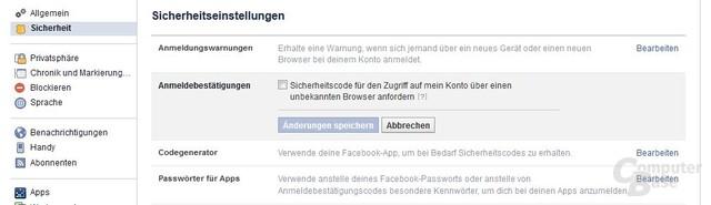 Anmeldebestätigung unter Facebook