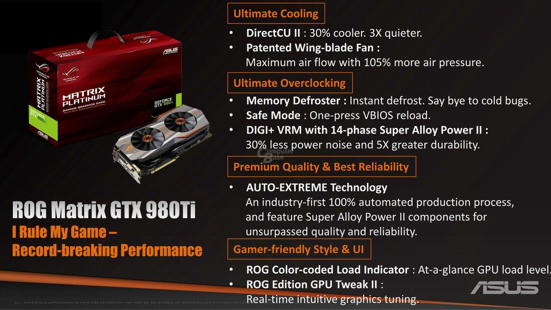Merkmale der Matrix GTX 980 Ti Platinum