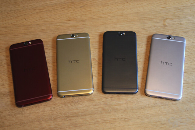 HTC One A9 in Deep Garnet, Topaz Gold, Carbon Grey, Opal Silver