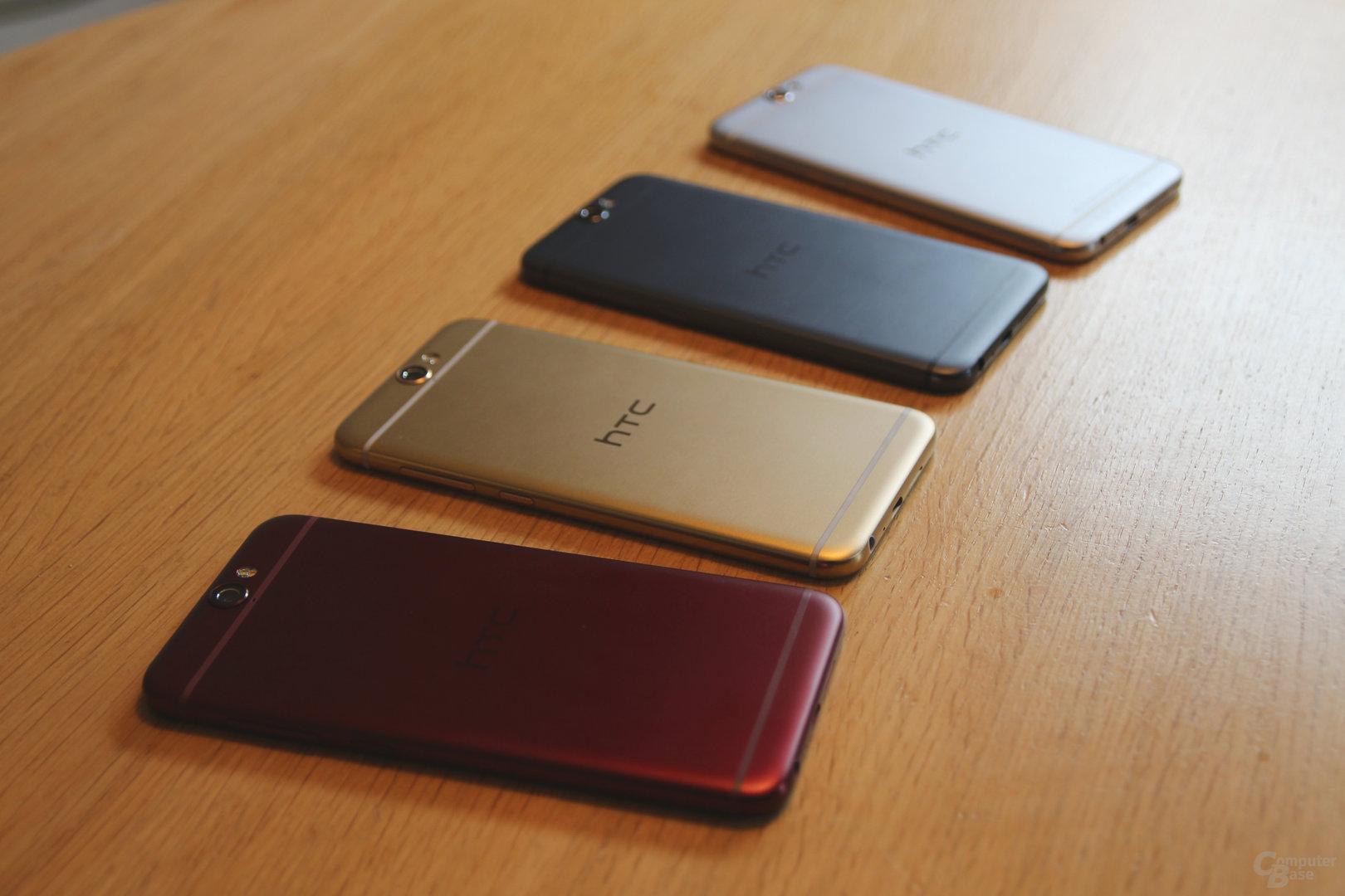 HTC One A9 in Deep Garnet, Topaz Gold, Carbon Grey, Opal Silver