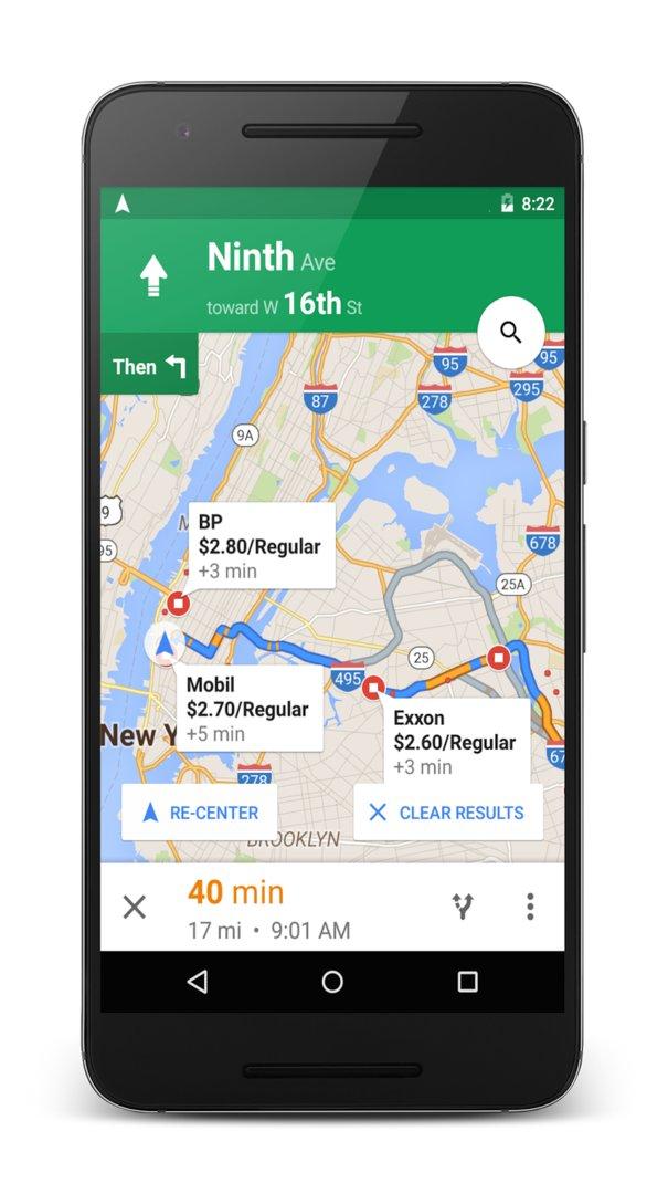 Google Maps für Android mit Zwischenstopps und Benzinpreisen