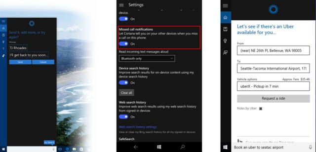 Cortana-Optionen