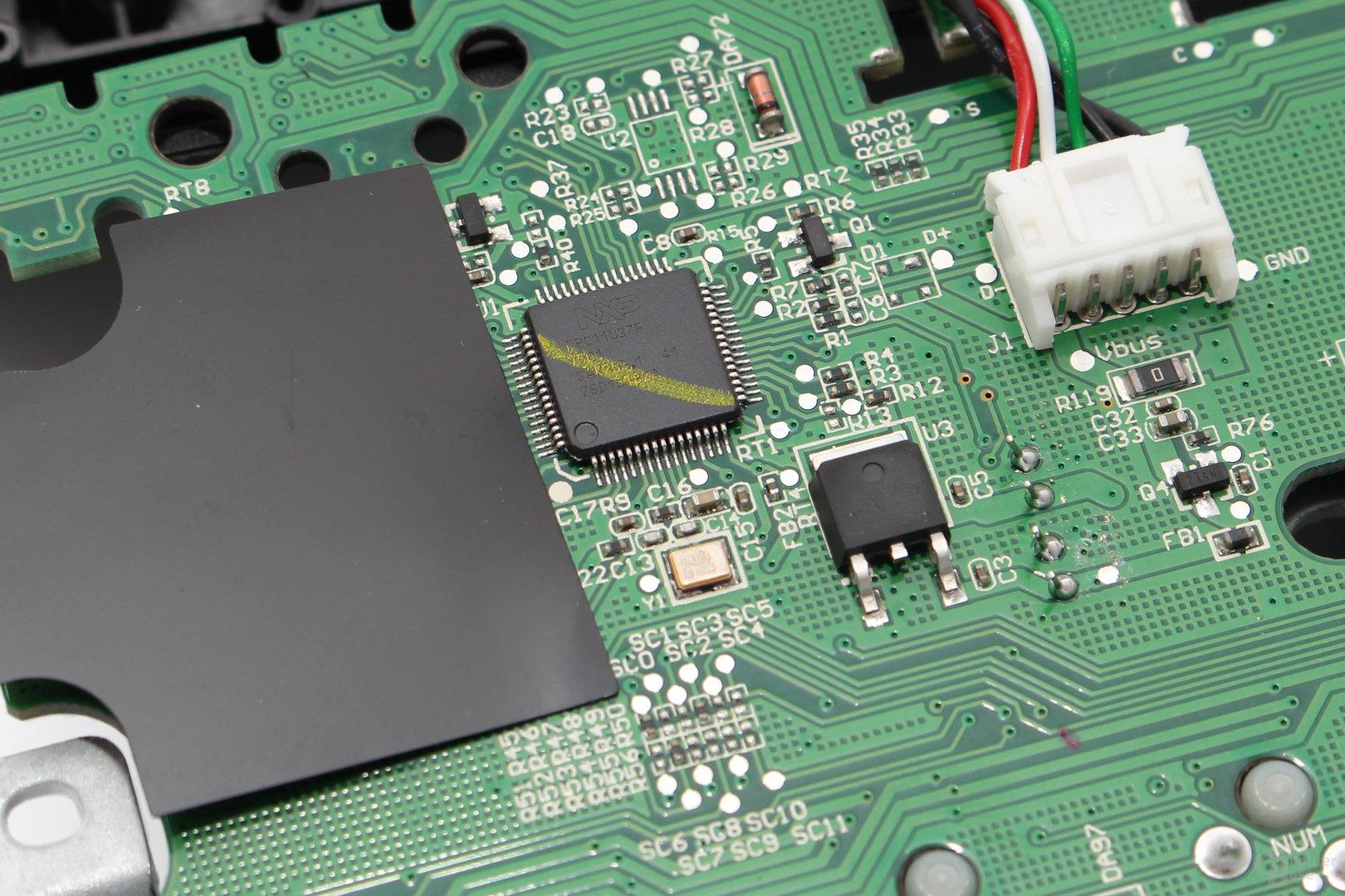 Ein Mikroprozessor des Typs NXP PC11U37F (ARM Cortex-M0) verarbeitet Signale