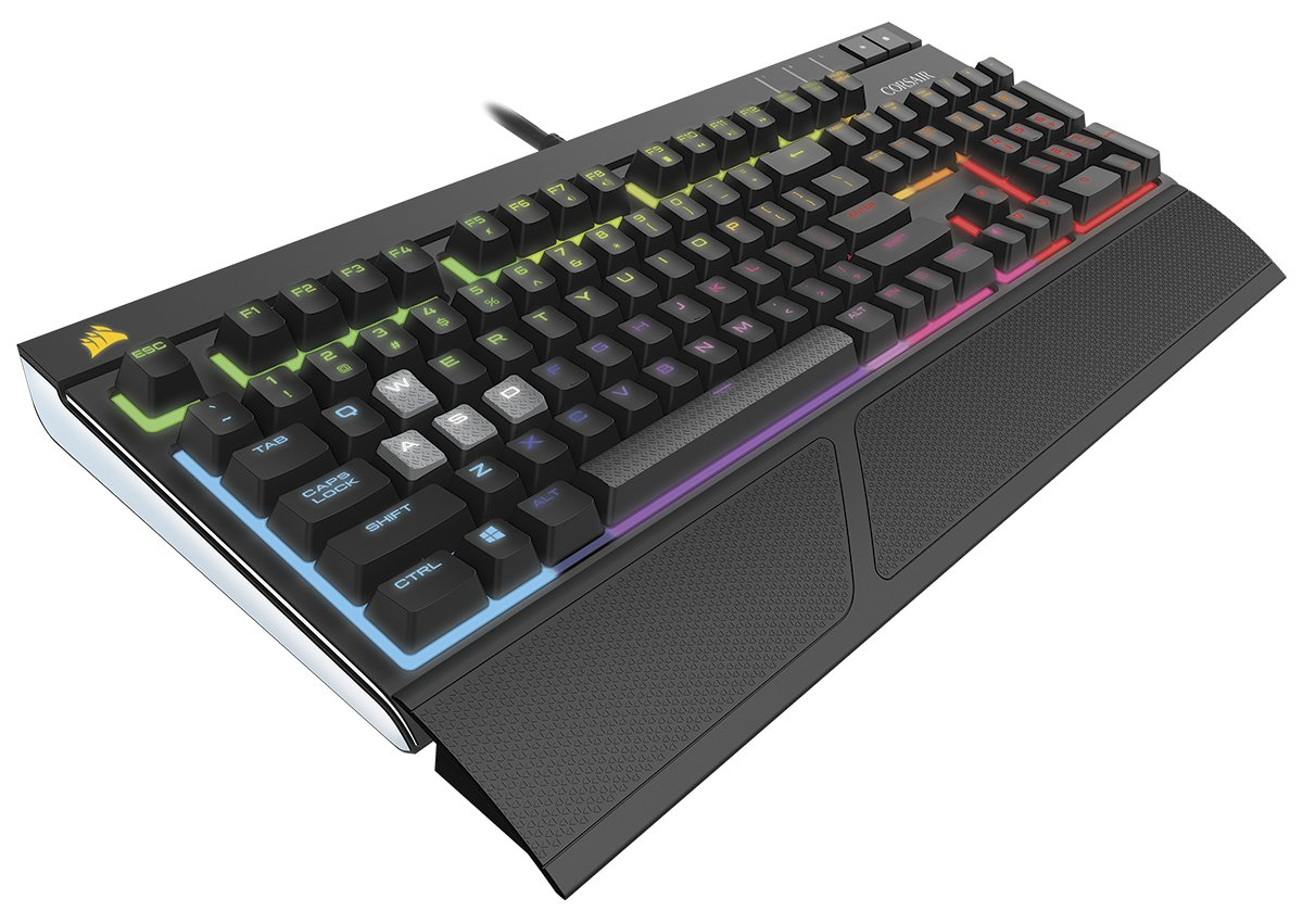 Die Corsair Strafe RGB MX Silent setzt auf geräuschgedämpfte MX-RGB-Taster von Cherry