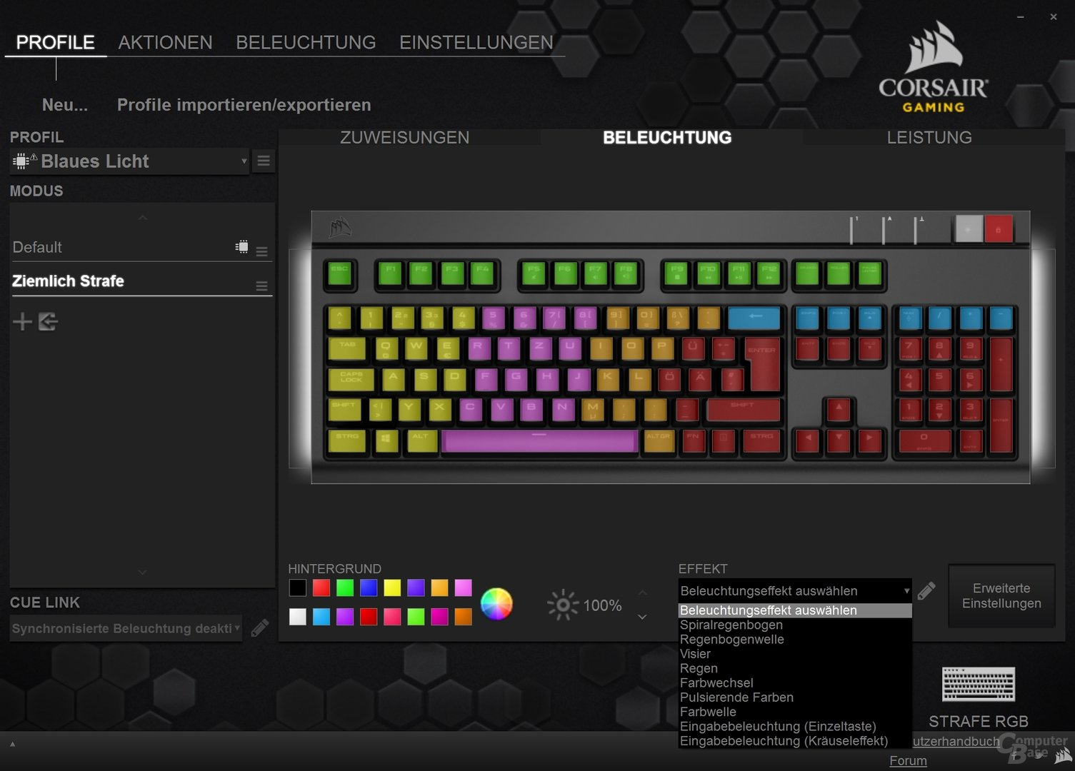 Effekte und, bei der Strafe RGB, Farben können ebenfalls kombiniert und konfiguriert werden