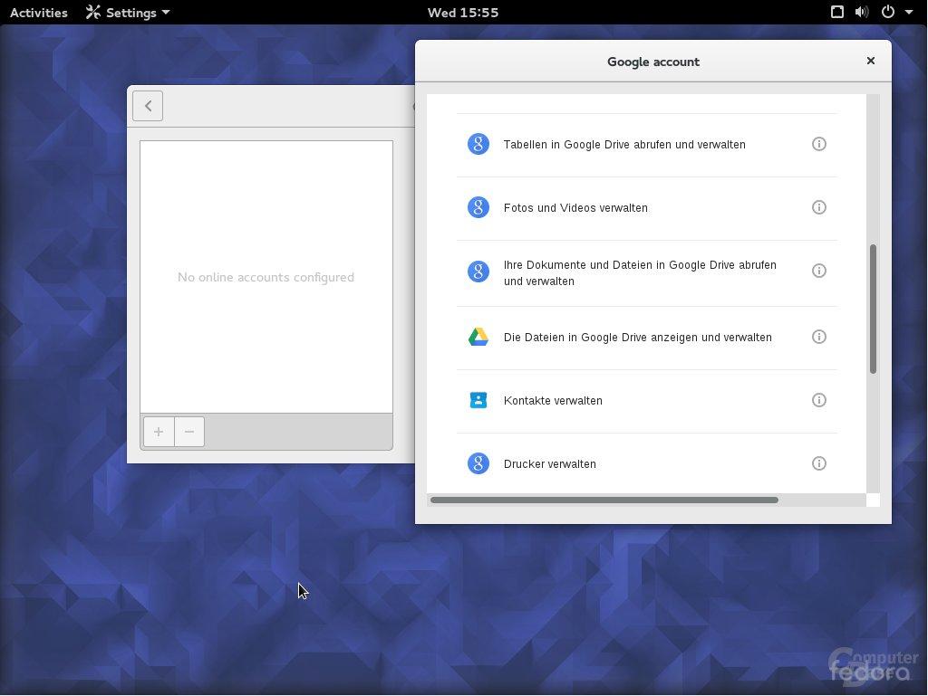 Fedora 23 Online Accounts