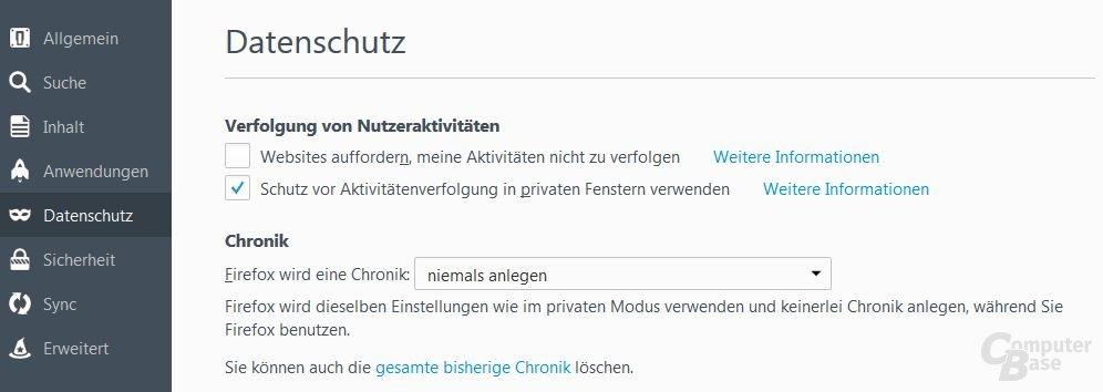 Firefox 42: Einstellungen unter Datenschutz