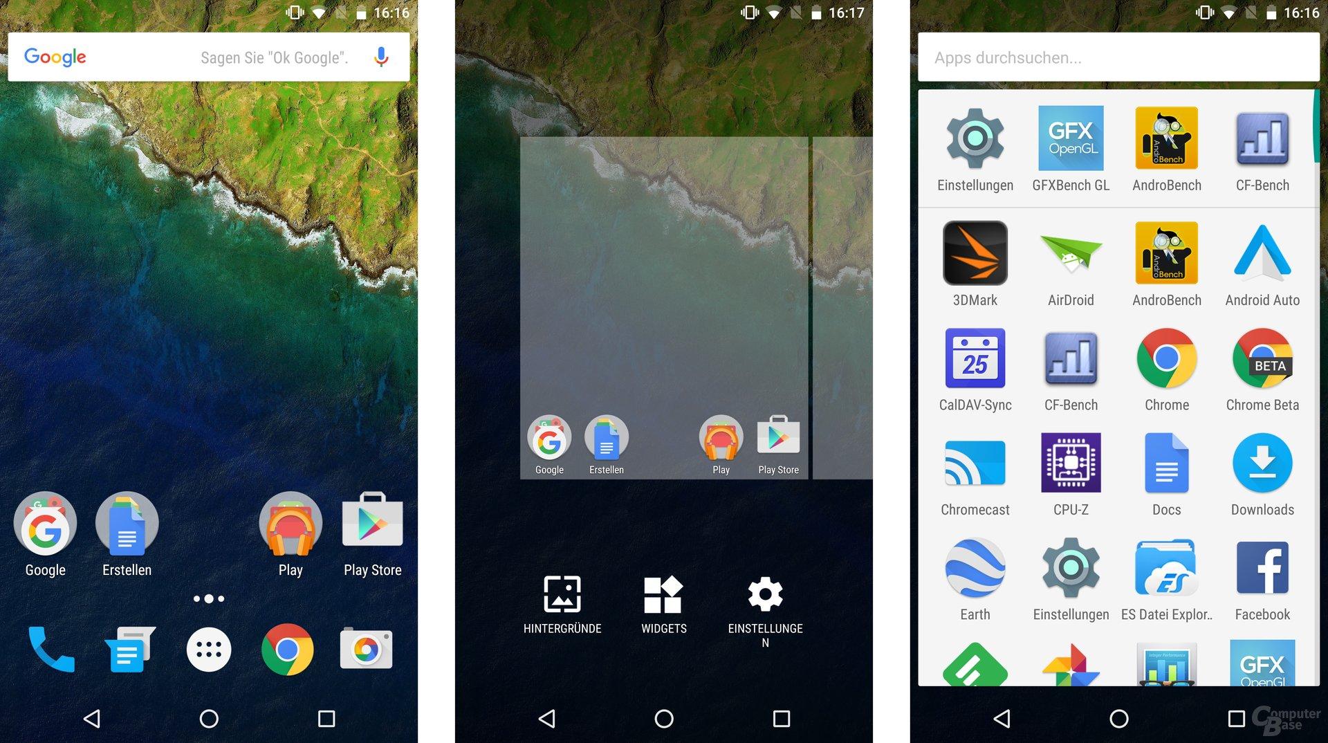 Homescreen und App-Drawer