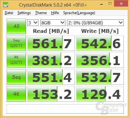 CrystalDiskMark keine Komprimierung (0-fill)