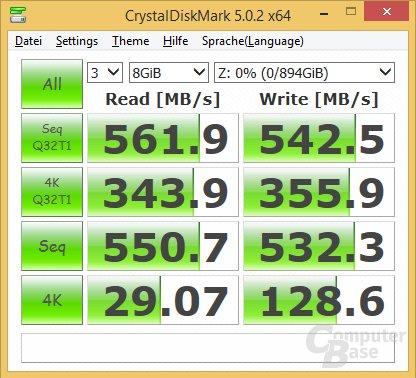CrystalDiskMark 100% Komprimierung (unkomprimierbar, Standard)