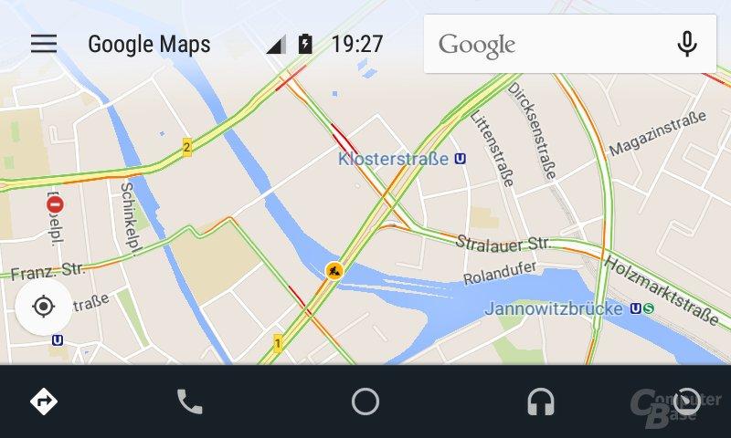Android Auto: Normale Kartenansicht ohne aktive Navigation