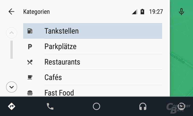 Android Auto: Sonderziele