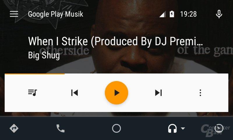 Android Auto: Ansicht bei aktuell abgespieltem Lied