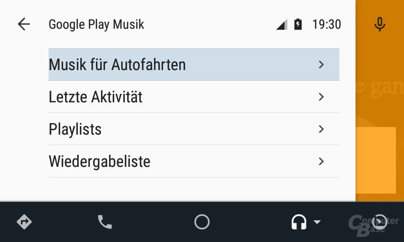 Android Auto: Kontextmenü in Play Music