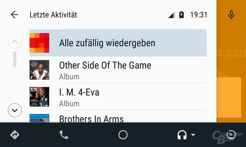 Android Auto: Letzte Aktivität