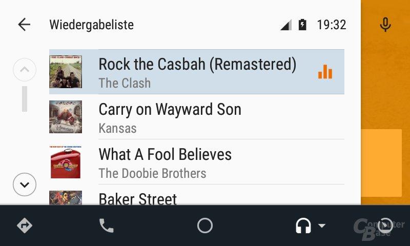 Android Auto: Wiedergabeliste