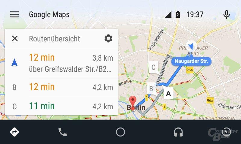 Android Auto: Vorgeschlagenen Routen